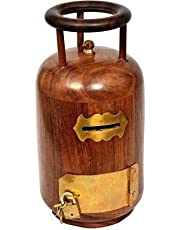 Acewood Beautiful Cylinder Shaped Wooden handmade piggy bank / Money Bank/Coin Storage Box with lock and key(17x9.5cm)