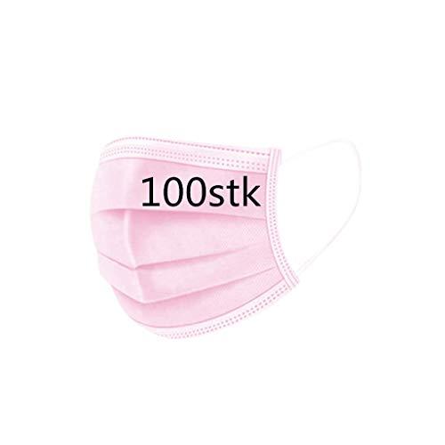 50/100 Stück Weiß Blau Rosa Schwarz Einmal-Mundschutz, Staubs-chutz Atmungsaktive Mundbedeckung, Erwachsene, Bandana Face-Mouth Cover (rosa 100 Stück)