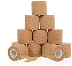 Self Adherent Cohesive Wrap Bandages 2inch-Wide (12-Pack) Bundle, 5 yds Self Adhesive Non Woven Bandage Rolls, Brown Athletic Tape for Wrist, Ankle, Hand, etc. Premium-Grade Medical Stretch Wrap