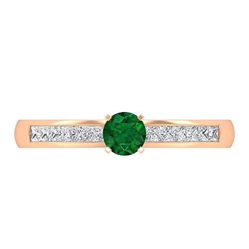 Anillo Esmeralda y Diamante, 1.50X1.50 MM Diamante de corte princesa, Anillo solitario de oro con piedras laterales (esmeralda de 4 mm), oro de 14 quilates, Metal, Diamond Emerald,