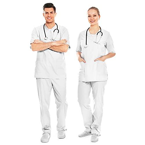 AIESI Divisa Sanitaria Uomo Donna in Cotone 100% sanforizzato Pantaloni e Casacca Scollo a V # Taglia S Bianco