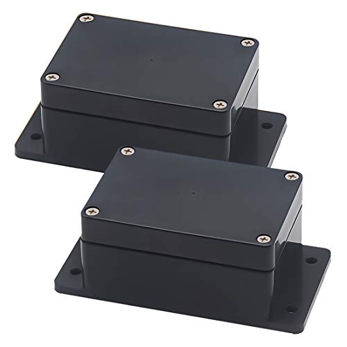 Zulkit Junction Box ABS Plastic Dustproof Waterproof IP65 Universal Electrical Boxes Project Enclosure with Fixed Ear Black 3.94 x 2.68 x 1.97 inch (100 x 68 x 50 mm)(Pack of 2)