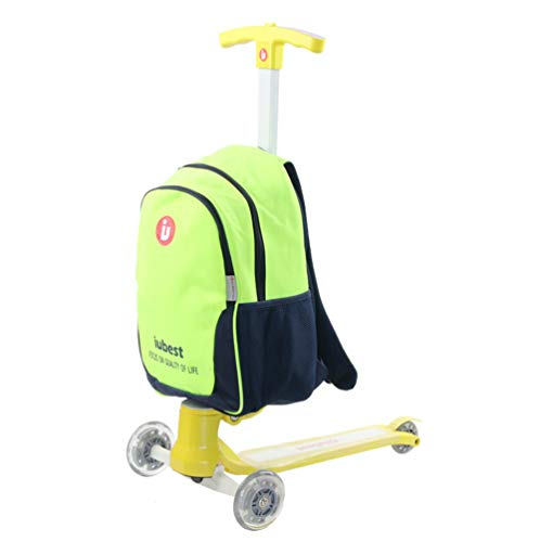 LRZ Luggage Scooter, Children's 3 Wheels Suitcase for Outdoor Travelling Student Men And Women Shoulder Bag Backpack,B