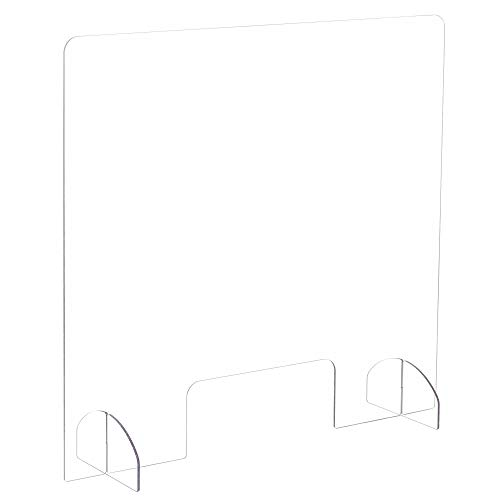 Safco Products Protective Acrylic Portable Sneeze Guard, Freestanding Cough & Sneeze Shield for Workers, Cashiers, Receptionists & Customers, 30'W x 28'H, Barrier Helps Reduce Exposure to Droplets