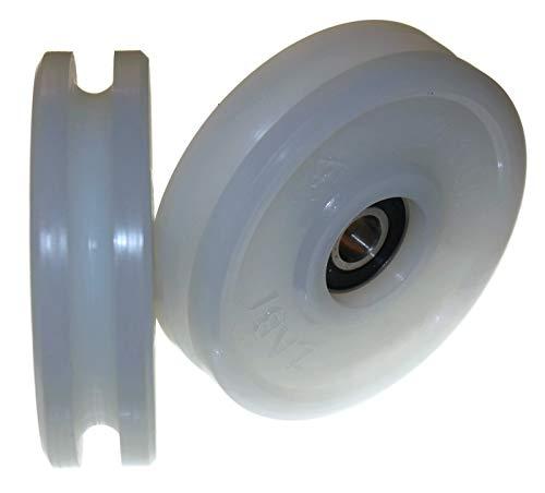 2 poleas de nailon de 100 mm de diámetro, varios tamaños de ranura fabricados en la UE (ranura de 10 mm)