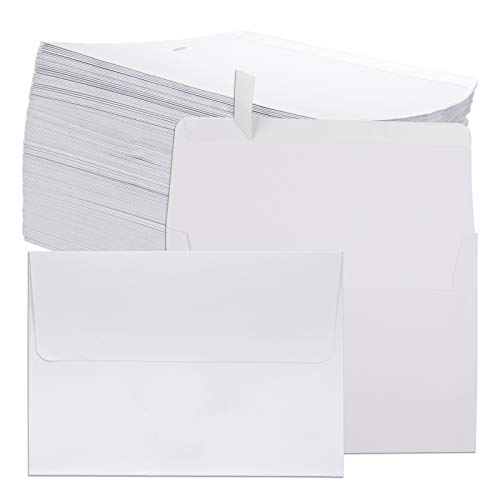 Jucoan 200 Pack A7 White Invitation Envelopes, 5.25 x 7.25 Inch Printable Blank Envelope with Self Stick Square Flap for Greeting Card, Wedding Invitation, Photos, Graduation Baby Shower