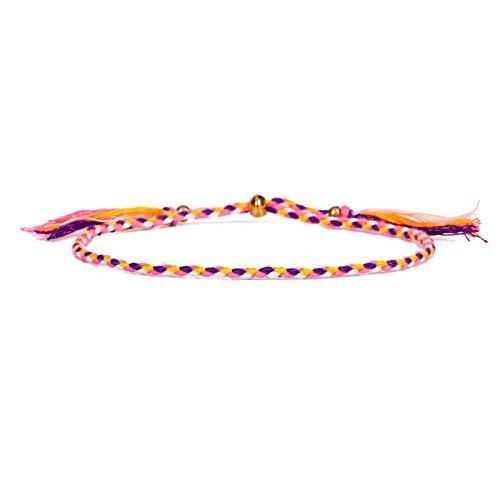 CEXTT Cuerda Tibetan Budista Amor Lucky Charm Thisbetan Hilo Pulseras y Brazaletes para Mujeres Hombres Cuerda Hecha A Mano 16-26cm