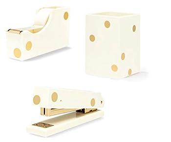 Kate Spade New York 3 Item Acrylic Desk Set Gold Dots   Stapler Tape Dispenser Pencil Holder
