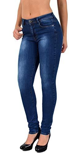 ESRA Damen Jeans Skinny Jeanshose Damen High-Waist Hose auch große Grössen S800