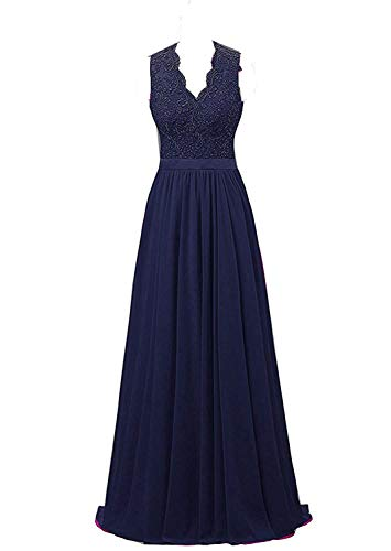 Nina V-Neck Long Chiffon Open Back Bridal Prom Evening Dress Navy 26W