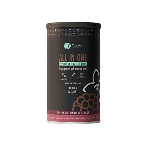 Vegan Protein | Pflanzliches Eiweißpulver mit ausgezeichnetem Geschmack & Superfoods | Gut verträglich, laktosefrei | Premium All in One Proteinpulver 450gr – Himbeere Vanille