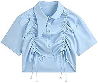 Fyuanmeiinsdxnv Womens tops summer Summer Atypical Design Neckline Blouse Slim Lapel Tie Folds Short-Sleeved Unretentive S...