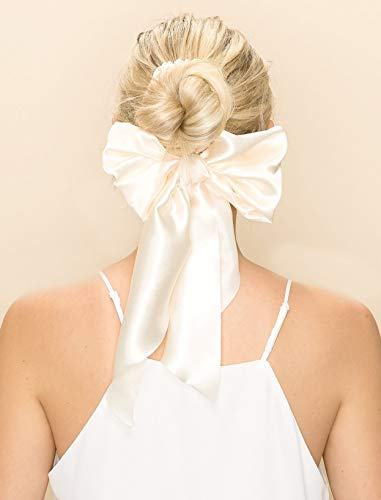 STARGAZER Scrunchies Hair Ties Band - Silky Long Sash Elastic Ponytail Holder Headband Bow Updo Hairties Ropes Fashion Accessories for Women Girls AC3316 Clear