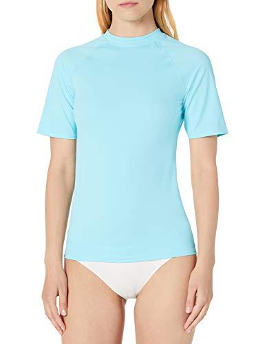 Amazon Essentials Women\'s Short Sleeve Rash Guard T-Shirt, Aquablau, XS