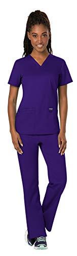 Cherokee Workwear Revolution WW620 WW110 - Juego uniforme de trabajo para mujer, camiseta con escote de pico y pantalones cómodos - Morado - 4XL arriba/5XL pantalones