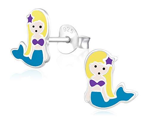 Laimons Kids Pendientes para niña Sirenita Azul, Morado, Amarillo Plata de ley 925