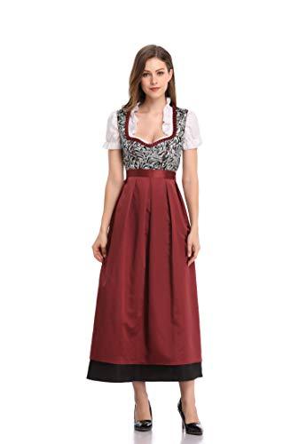 KOJOOIN Trachten Damen Dirndl Kurz/Lang - Midi Trachtenkleid für Oktoberfest - DREI Teilig: Kleid, Bluse, Schürze Braun 42/L