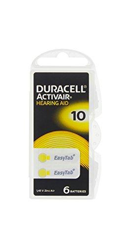 60 x Duracell Activair Hörgeräte Batterien/ EasyTab/ Typ 10 BL6/ 10 x 6 Stück/ 1,45V/ Zink-Luft/ Hearing Aid