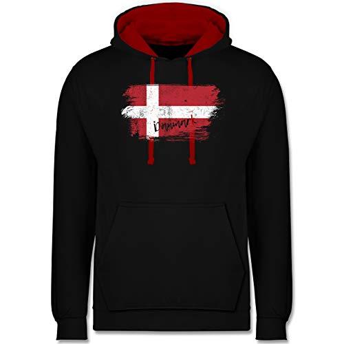 Shirtracer Handball WM 2021 - Dänemark Vintage - 4XL - Schwarz/Rot - Vintage - JH003 - Hoodie zweifarbig und Kapuzenpullover für Herren und Damen