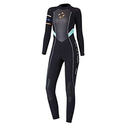 YRX Traje de neopreno para mujer, 3 mm, de neopreno, de manga larga, traje mojado para agua fría, surf, surf, color negro, M