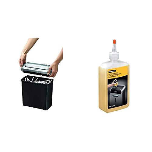 Fellowes Trito 2S - Destructora trituradora de papel, corte en tiras, 5 hojas, color negro + Aceite lubricante para destructoras de papel, 355 ml