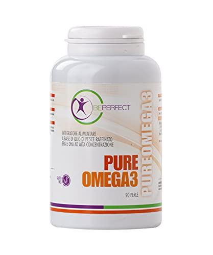 BePerfect – Pure Omega 3 - Integratore Alimentare a base di olio di pesce raffinato EPA e DHA ad alta concentrazione – Fonte di acidi grassi essenziali - Made in Italy – 90 Perle