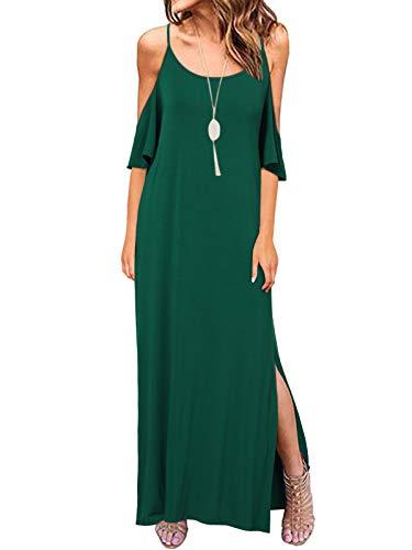 ACHIOOWA Robe Grande Taille Robe Longue Fluide Robe de soirée Femme ete Robe Longue Femme Grande Taille,A14799-vert,XXL