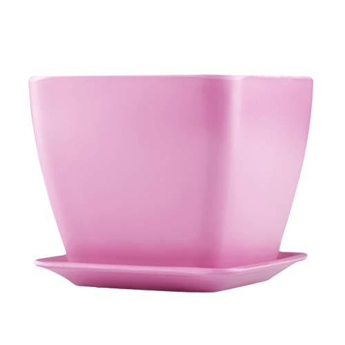 LiuJF-Home Accessoires voor planten, tafelpot, vierkante imitatie, keramiek, bloempot, met dienblad, geschikt voor salontafel, bijzettafel, cadeaus