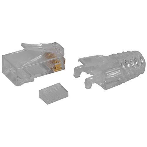 Mogzank 100 Unids Cat6 RJ45 Conector UTP Cable Ethernet Jack 8P8C Red 6 Enchufes Modulares con Tapas de 6.5Mm RJ45