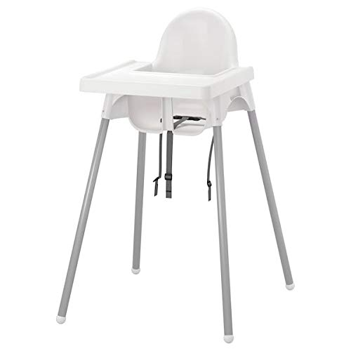 Highchair with Tray, Silver-Colour White, Silver-Colou