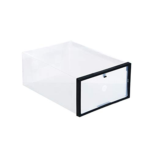 weichuang Caja de zapatos de plástico de cristal grueso transparente color zapatero plegable caja de almacenamiento de zapatos caja de plástico ordenada apilable para colgar zapatos (color: negro).