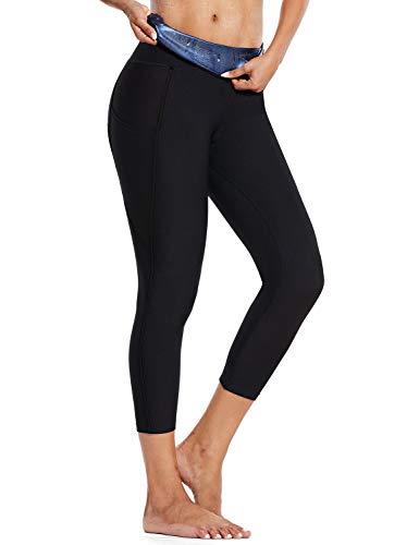 BALEAF Women's High Waisted Sauna Pants Pocket Weight Loss Neoprene Compression Capris Thigh Slimming Shaper Thermo Sweat Leggings Black M