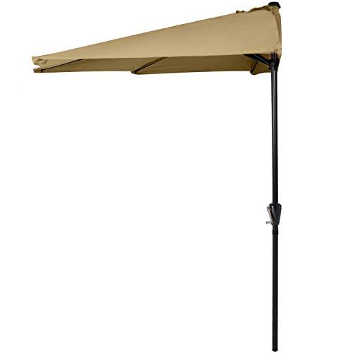 ABCCANOPY 11FT Patio Umbrella Half Round Outdoor Umbrella with Crank for Wall Balcony Door Window Sun Shade (Khaki)