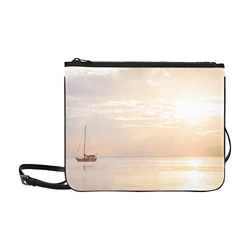 WYYWCY Ein einsames Boot unter einem Baummuster Benutzerdefinierte hochwertige Nylon-dünne Clutch-Tasche Umhängetasche mit Umhängetasche