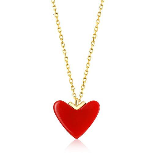 AMY-XCQ Halskette S925 Sterling Silber 9 Karat Gelbgold Pfirsich Herz Schlüsselbein Künstliche Koralle Rot Liebe Herz Anhänger
