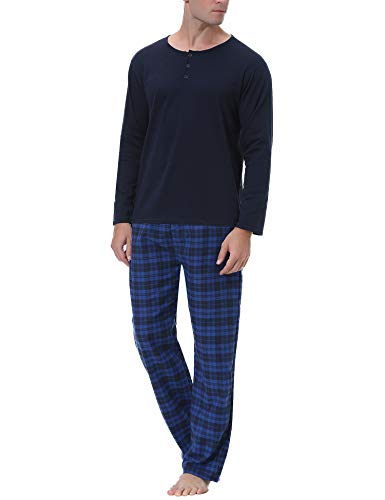 iClosam Herren Schlafanzug Lang Pyjama Set Nachtwäsche Hausanzug Winter Baumwolle Zweiteilig Oberteile Schlafshirt Kariert Pyjamahose mit Taschen