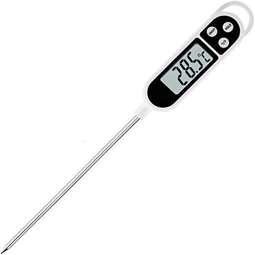 LCD-scherm koken thermometer, digitaal vlees voedsel thermometer direct lezen lange sonde auto uit keuken thermometers voor BBQ, vlees, suiker, melk, water, jam, grill (geen batterij inbegrepen) 24.5 * 2.5 * 1.5cm Kleur: wit