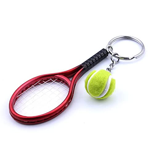 Raqueta de tenis de recuerdo mini llavero creativo llavero coche mochila colgante rojo