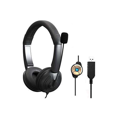 KKSH USB Auriculares con Micrófono, Auriculares Telefono PC, Auriculares Diadema Cable, Cancelación...