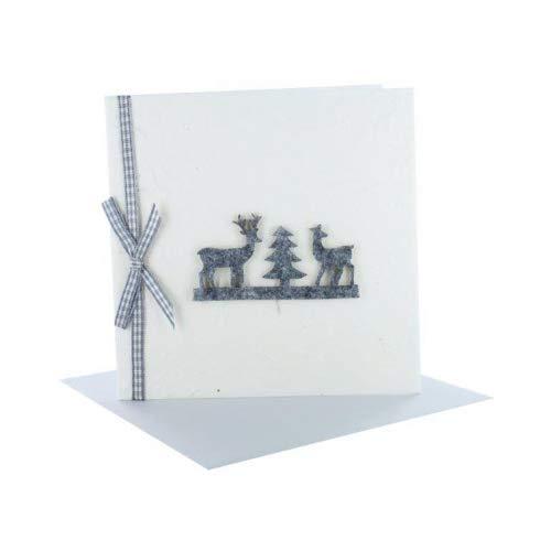 Weihnachtskarte Naturpapier creme Qudratisch mit Filztieren