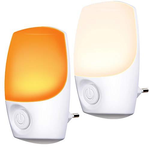 Nachtlicht Steckdose Farbe ausgewählt, Emotionlite Farbrotations LED Nachtlicht mit Dämmerungssensor, Wählen Sie Dual Farbe Durch Schalter. Nursery Decor, Kinderzimmer, Schlafzimmer, 2 Stück