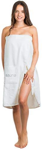 Brandsseller Damen Saunakilt Saunasarong S-XXL mit Klettverschluss, Gummizug und Tasche 100% Baumwolle (Länge: ca. 75 cm | Breite: S-XXL, Schneeweiß)