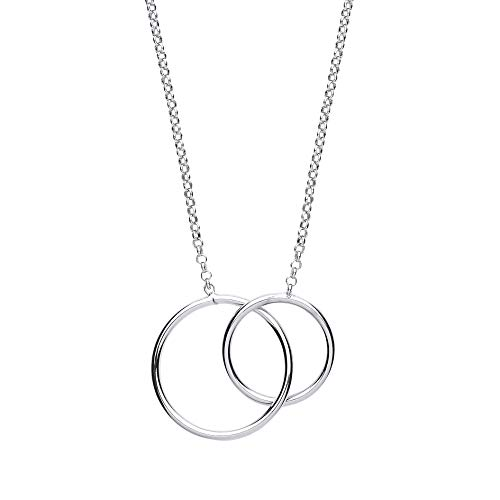 Jewelco London Ladies Rhodium Plated Sterling Silver # Chinese Linking Rings Charm Necklace 16 inch