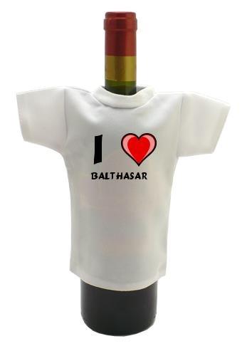 Weinflasche T-shirt mit Aufschrift Ich liebe Balthasar (Vorname/Zuname/Spitzname)
