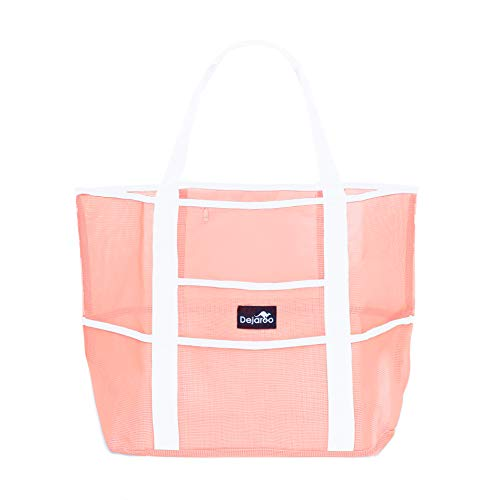 Dejaroo Mesh Beach Bag – Toy Tote Bag – Large Lightweight Market, Grocery & Picnic Tote with Oversized Pockets (Peach with White Handles)