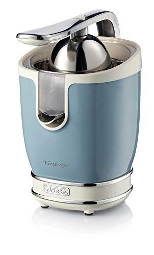 Ariete 413-05 - Exprimidores eléctricos Vintage 85 W, silencioso, 2 conos diferente tamaño, recogecable, boquilla acero inoxidable, función antigoteo, cuerpo metal azul