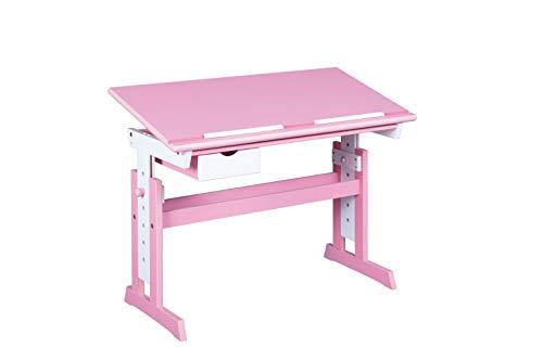 Inter Link Schülerschreibtisch Schreibtisch Arbeitstisch Kinderschreibtisch Massivholz MDF Rosa und weiss lackiert