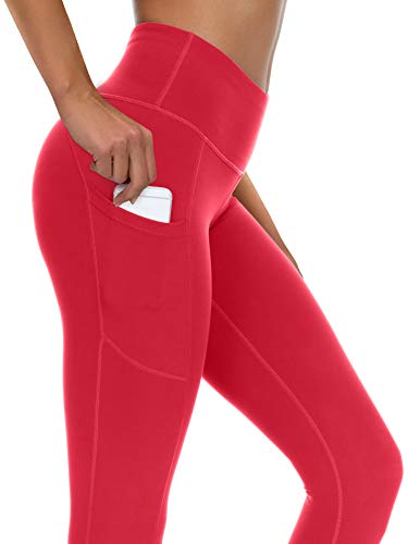 syoss Yoga Pants for Women with Pockets High Waisted Leggings with Pockets for Women Workout Leggings for Women XL, Red