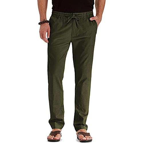 Men's Drawstring Fall Beach Loose Trousers Linen Pants with Elastic Waistband Comfy Business Casual Dress Pants Men Army Green