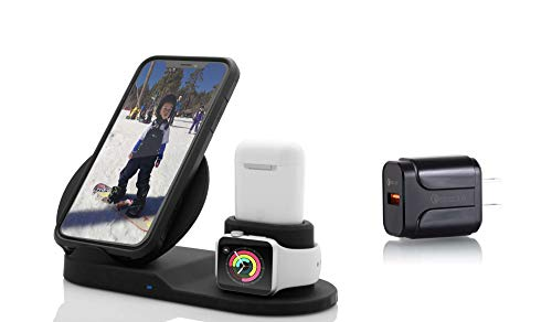 OMEGA 3 in 1 Wireless Charger Compatible with IPhone 11 X/Xs Max/XR/8/ Wireless Charging Dock for Samsung/Note All Qi-certified Android devices Charging Station for Apple Watch Series 1/2/3/4 +Airpods